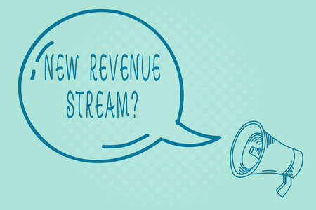 Text sign showing New Revenue Stream Question. Business photo text Additional Enhanced Source of Income Improved Approach Blank Transparent Speech Bubble with Shining icon and Outline Megaphone