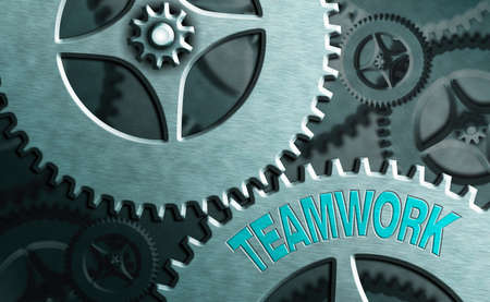Writing note showing Teamwork. Business concept for the group s is collaborative effort to accomplish a common goal System administrator control, gear configuration settings tools concept