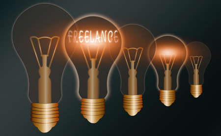 Handwriting text writing Freelance. Conceptual photo working at different firms rather than being permanently Realistic colored vintage light bulbs, idea sign solution thinking concept