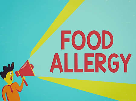 Word writing text Food Allergy. Business photo showcasing abnormal immune system response to allergen after eaten Man Standing Talking Holding Megaphone with Extended Volume Pitch Power