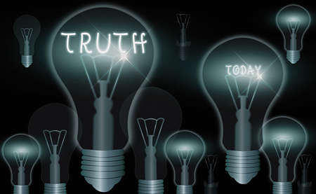 Word writing text Truth. Business photo showcasing used to mean being in accord with fact reality or fidelity to standard Realistic colored vintage light bulbs, idea sign solution thinking concept Stok Fotoğraf