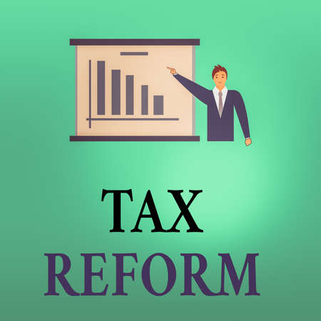 Conceptual hand writing showing Tax Reform. Concept meaning government policy about the collection of taxes with business owners Man in Business Suit Pointing a Board Bar Chart Copy Space