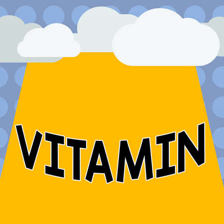 Conceptual hand writing showing Vitamin. Concept meaning organic molecule that is essential micronutrient that organism needs Blank Clouds Halftone above Rectangular Board Text space