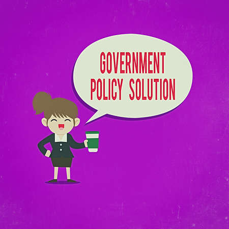 Text sign showing Government Policy Solution. Business photo text designed game plan created in response to emergency disaster Female Hu analysis Wearing Uniform Holding a coffee To Go Cup and Speech Bubble