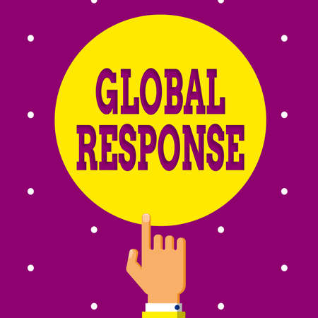 Conceptual hand writing showing Global Response. Concept meaning indicates the behaviour of material away from impact point Hand Pointing up Index finger Touching Solid Color Circle Imagens