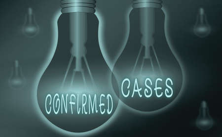 Text sign showing Confirmed Cases. Business photo showcasing set of circumstances or conditions requiring action Realistic colored vintage light bulbs, idea sign solution thinking concept