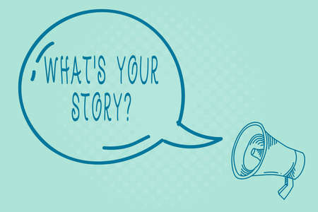 Text sign showing What S Your Story Question. Business photo text Share or tell us your life experiences and success Blank Transparent Speech Bubble with Shining icon and Outline Megaphone