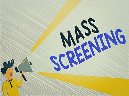Word writing text Mass Screening. Business photo showcasing health evaluation performed at a large amount of population Man Standing Talking Holding Megaphone with Extended Volume Pitch Power