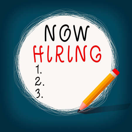 Conceptual hand writing showing Now Hiring. Concept meaning an act of starting to employ someone qualified for the position Scribbling of circular lines Using Pencil White Solid Circle Stockfoto