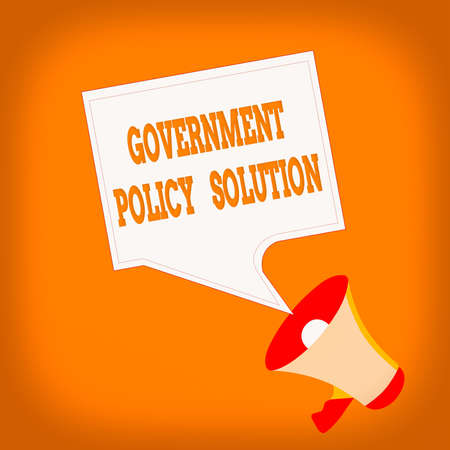 Word writing text Government Policy Solution. Business photo showcasing designed game plan created in response to emergency disaster Megaphone and Blank Bordered Square Speech Bubble Public Announcement