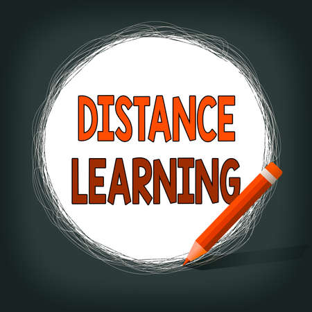 Writing note showing Distance Learning. Business concept for educational lectures broadcasted over the Internet remotely Scribbling of circular lines Using Pencil White Solid Circle