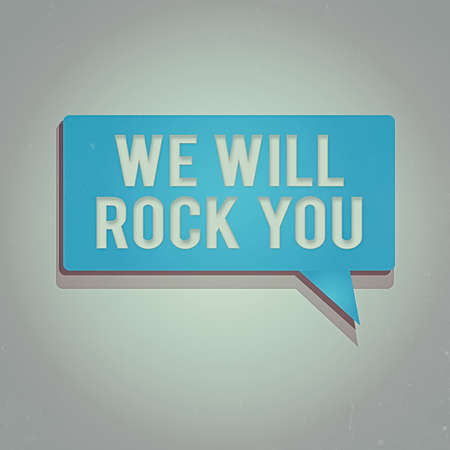 Word writing text We Will Rock You. Business photo showcasing to be going out and facing the world and all that is in it Rectangular shape Solid color Halftone Blank Speech Bubble with Shadow Archivio Fotografico