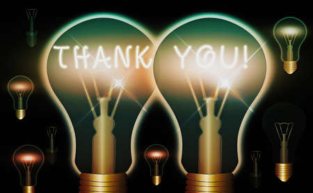 Handwriting text Thank You. Conceptual photo polite expression to acknowledge a gift, service or compliment Realistic colored vintage light bulbs, idea sign solution thinking concept 版權商用圖片