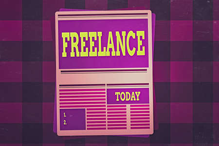 Writing note showing Freelance. Business concept for working at different firms rather than being permanently Newspaper Page Layout with Blank Headlines Article and column Format