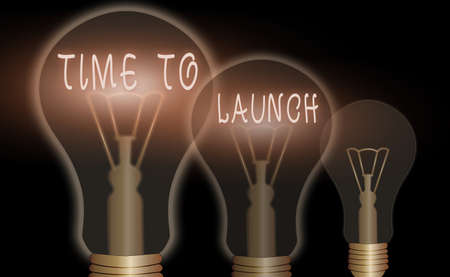 Text sign showing Time To Launch. Business photo showcasing Business StartUp, planning and strategy, management, realization Realistic colored vintage light bulbs, idea sign solution thinking concept