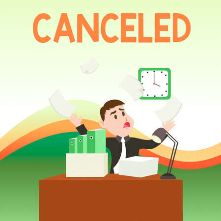 Text sign showing Canceled. Business photo text to decide not to conduct or perform something planned or expected Confused Male Employee Manager Cluttered Workspace Overflow Time Shortage