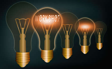 Handwriting text writing Workshop. Conceptual photo space or a building where the goods are produced or repaired Realistic colored vintage light bulbs, idea sign solution thinking concept