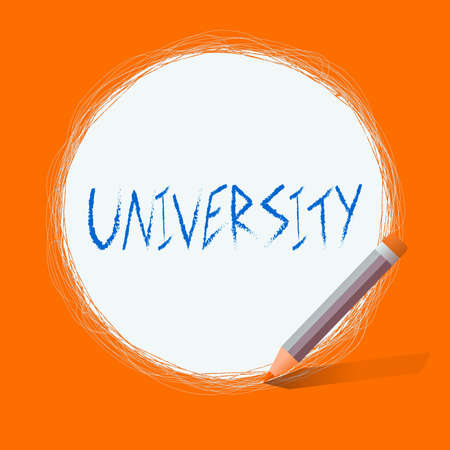 Text sign showing University. Business photo text an educational institution designed to teach and investigate Freehand Scribbling of circular lines Using Pencil on White Solid Circle