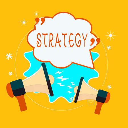 Word writing text Strategy. Business photo showcasing action plan or strategy designed to achieve an overall goal Blank Speech Bubble with Quotation Mark Two Megaphones shouting and Arguing Stock Photo