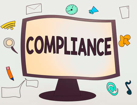 Conceptual hand writing showing Compliance. Concept meaning the action or fact of complying with a wish or commands Web Application Software icons Surrounding Computer Monitor Stock Photo