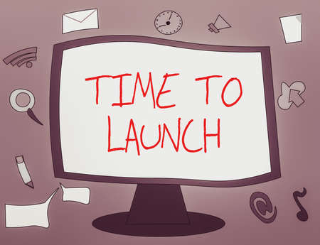 Word writing text Time To Launch. Business photo showcasing Business StartUp, planning and strategy, management, realization Web Application Software icons Surrounding Blank Mounted Computer Monitor