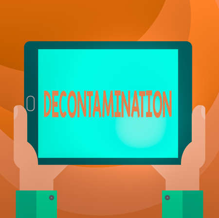 Text sign showing Decontamination. Business photo showcasing neutralizing every presence of hazardous substances Hu analysis Hand Holding Blank Screen Tablet Smartphone Display Unit photo