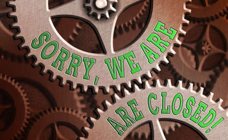 Conceptual hand writing showing Sorry, We Are Closed. Concept meaning apologize for shutting off business for specific time System administrator control, gear configuration settings