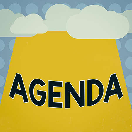 Conceptual hand writing showing Agenda. Concept meaning list of meeting activities in the order which they are to be taken up Blank Clouds Halftone above Rectangular Board Text space
