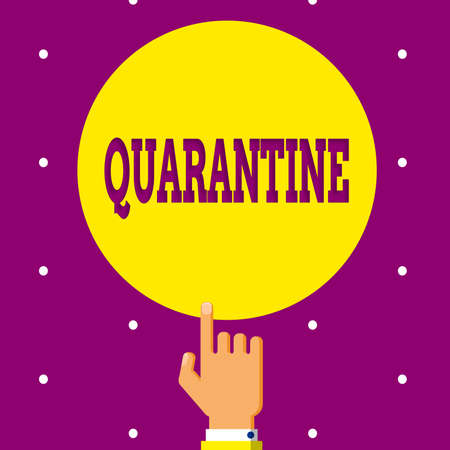 Conceptual hand writing showing Quarantine. Concept meaning restraint upon the activities of an individual or the transport of goods Hand Pointing up Index finger Touching Solid Color Circle 写真素材