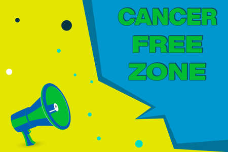 Word writing text Cancer Free Zone. Business photo showcasing supporting cancer patients and raising awareness of cancer Megaphone Loudspeaker and Blank Geometric shape Half Speech Bubble