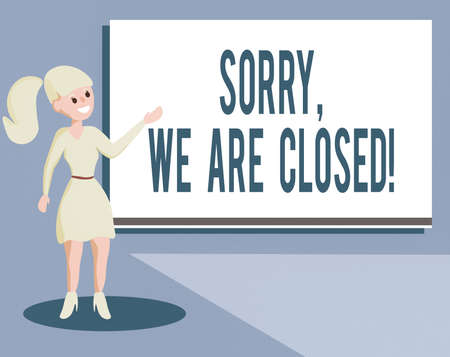 Writing note showing Sorry, We Are Closed. Business concept for apologize for shutting off business for specific time Wo analysis Presenting Audio Visual Blank Projector Screen