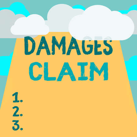 Text sign showing Damages Claim. Business photo text seeks to repair the damages or liability of the victim party Blank Clouds Halftone above Empty Vertical Rectangular Board Text space Imagens