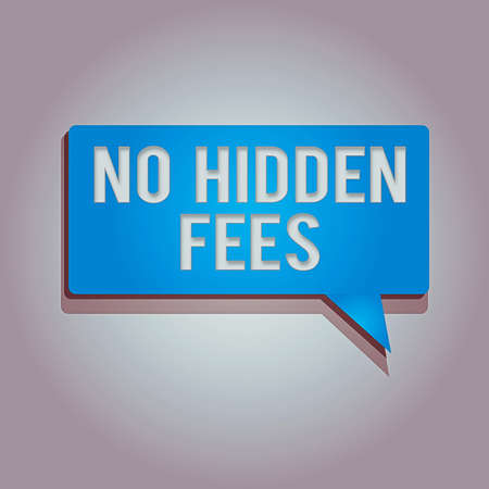 Word writing text No Hidden Fees. Business photo showcasing without or zero bank charge, service charge, or extras Rectangular shape Solid color Halftone Blank Speech Bubble with Shadow