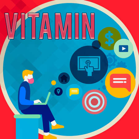 Handwriting text writing Vitamin. Conceptual photo organic molecule that is essential micronutrient that organism needs Man Sitting Down with Laptop on his Lap and SEO Driver Icons on Blank Space