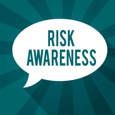 Writing note showing Risk Awareness. Business concept for recognizing factors that may cause a lifethreatening effect Oval Speech Bubble solid Color and shadow Burst background