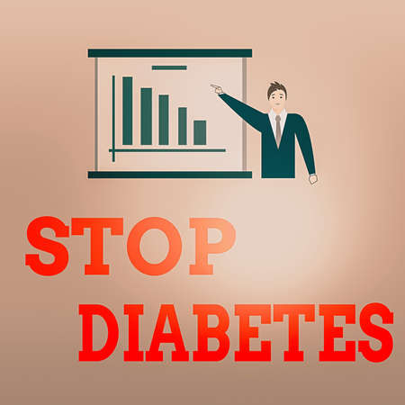 Writing note showing Stop Diabetes. Business concept for prevent the disease of elevated glucose level in the blood Man in Business Suit Pointing a Board Bar Chart Copy Space