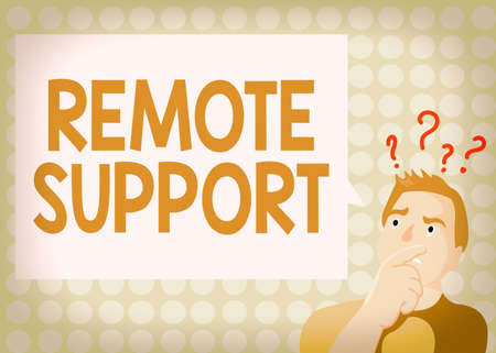 Conceptual hand writing showing Remote Support. Concept meaning type of secure service, which permits representatives to help Man Expressing Hand on Mouth Question Mark icon Text Bubble