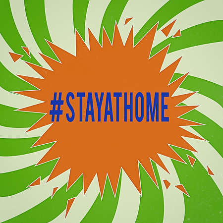 Handwriting text writing Hashtag Stay at home. Conceptual photo a trending label in social media related to the coronvirus outbreak Blank Exploding Cracking Breaking Speech Bubble Sound Effect on Burst