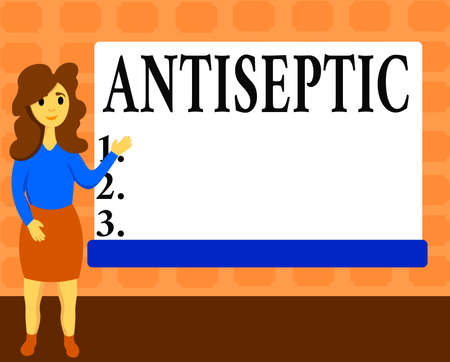 Text sign showing Antiseptic. Business photo showcasing antimicrobial agents that delays or completely eliminate the microorganism Female Hu analysis Standing Hand Presenting Rectangular Blank Whiteboard