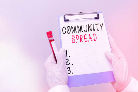 Handwriting text Community Spread. Conceptual photo dissemination of a highlycontagious disease within the local area Laboratory blood test sample shown for medical diagnostic analysis result