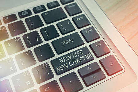 Handwriting text writing New Life New Chapter. Conceptual photo modification of brand or business Change opportunities Pc keyboard key with empty note paper above background copy space