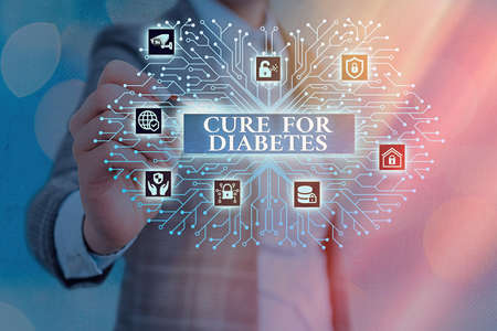 Word writing text Cure For Diabetes. Business photo showcasing looking for medication through insulindependent System administrator control, gear configuration settings tools concept