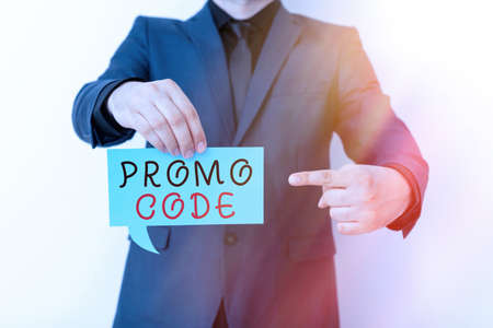 Handwriting text Promo Code. Conceptual photo letters or numbers that allows getting a discount on something Displaying different color sticker notes mock-up for emphasizing content