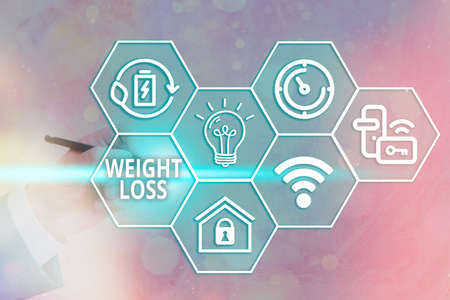 Handwriting text writing Weight Loss. Conceptual photo a reduction of the total body mass due to a mean loss of fluid Grids and different set up of the icons latest digital technology concept 免版税图像