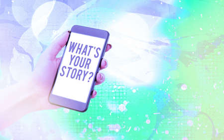 Word writing text What S Your Story Question. Business photo showcasing Share or tell us your life experiences and success Modern gadgets with white display screen under colorful bokeh background