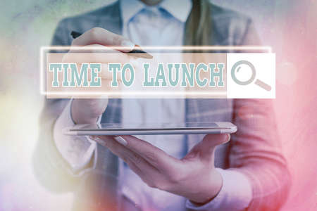 Text sign showing Time To Launch. Business photo showcasing Business StartUp, planning and strategy, management, realization Web search digital information futuristic technology network connection Imagens