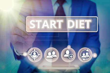 Writing note showing Start Diet. Business concept for the practice of eating food in a regulated and supervised fashion Information digital technology network infographic elements