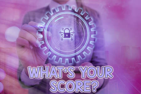 Writing note showing What S Your Score Question. Business concept for Tell Personal Individual Rating Average Results Statistics Graphics padlock for web data information security application system