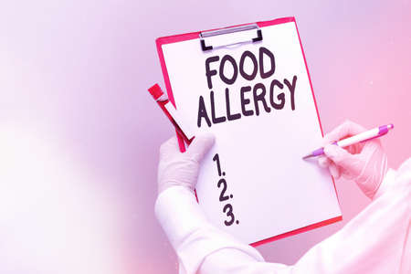 Word writing text Food Allergy. Business photo showcasing abnormal immune system response to allergen after eaten Laboratory blood test sample shown for medical diagnostic analysis result