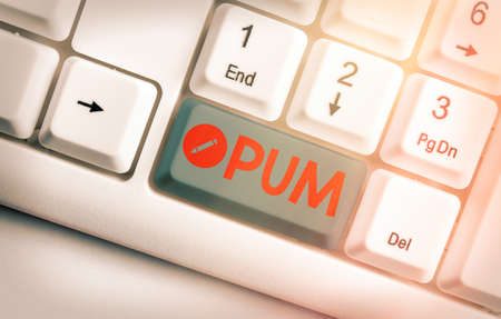 Text sign showing Pum. Business photo text unwanted change that can be performed by legitimate applications White pc keyboard with empty note paper above white key copy space
